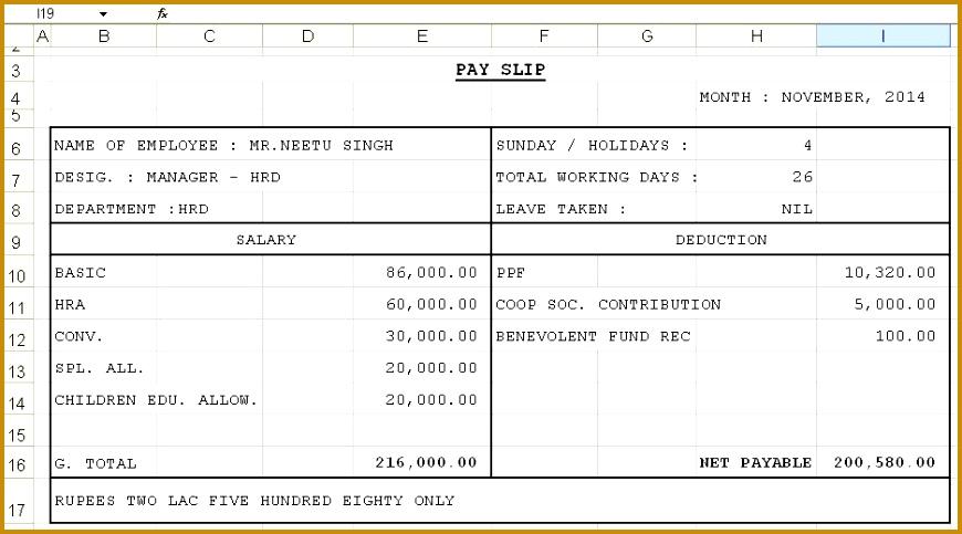 salary slip format in excel 483870