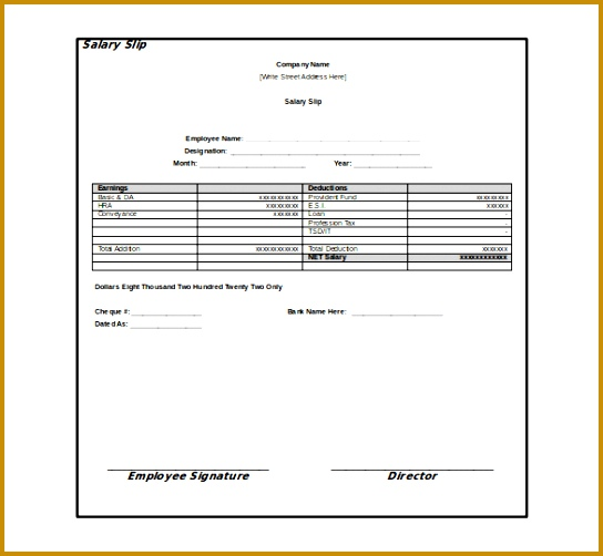 professional monthly employee pay slip template sample for your business 502544