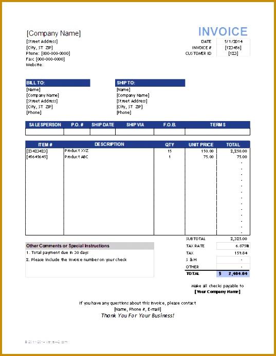 sales invoice template 537694