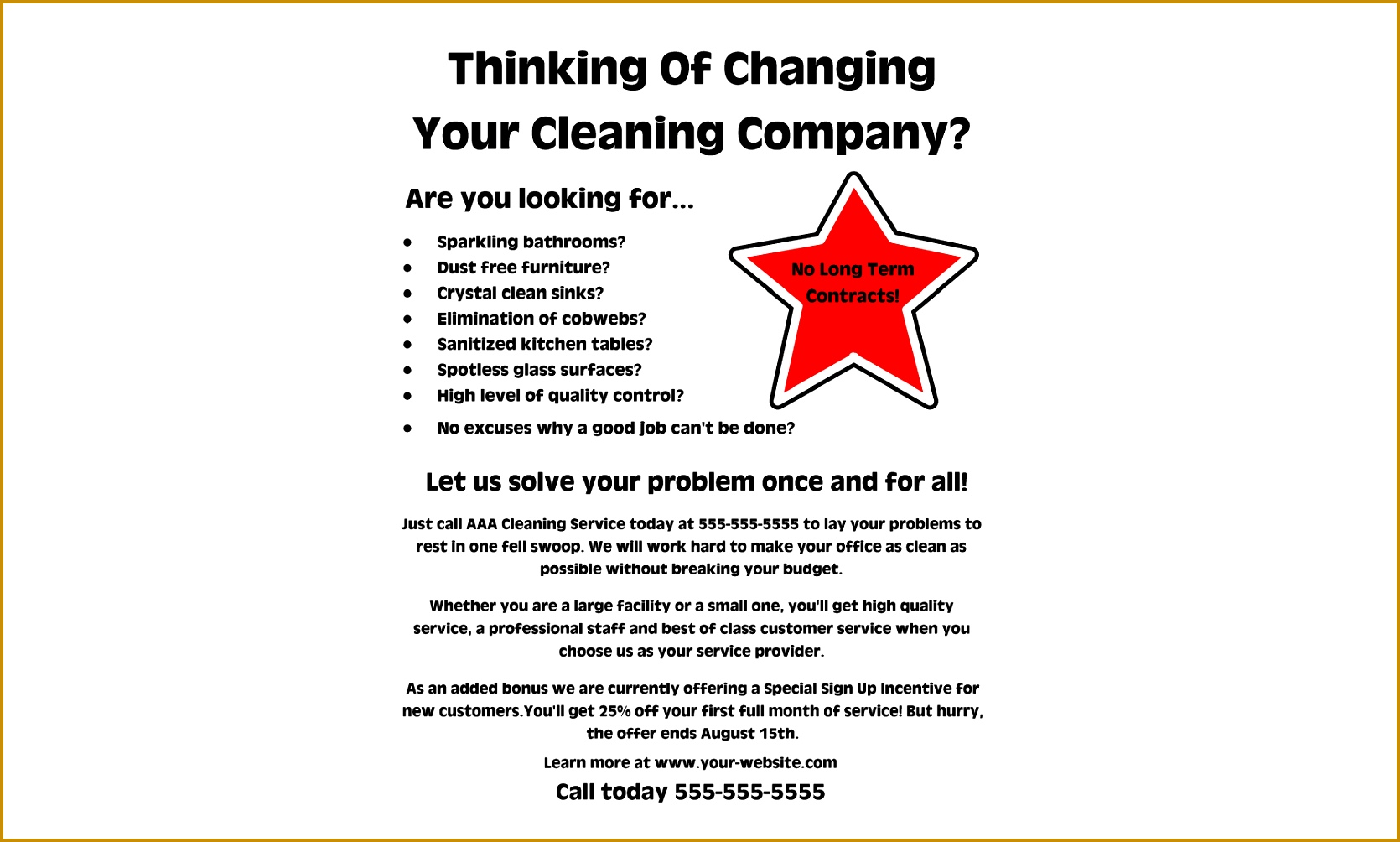 Sample Business Flyer 85844 Mercial Cleaning Business Flyers Examples and Samples