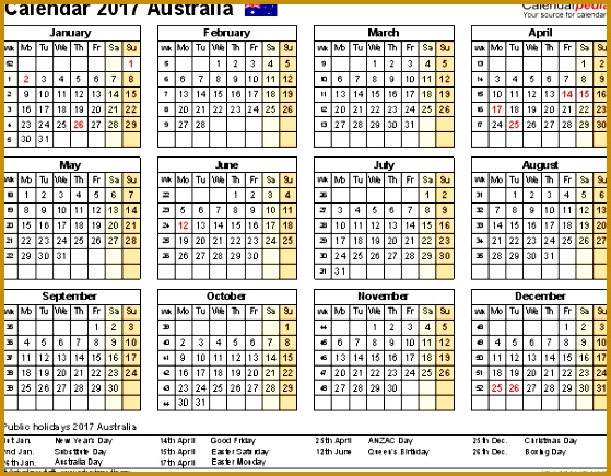 Template 8 2017 Calendar Australia for Excel year at a glance 1 page 435559