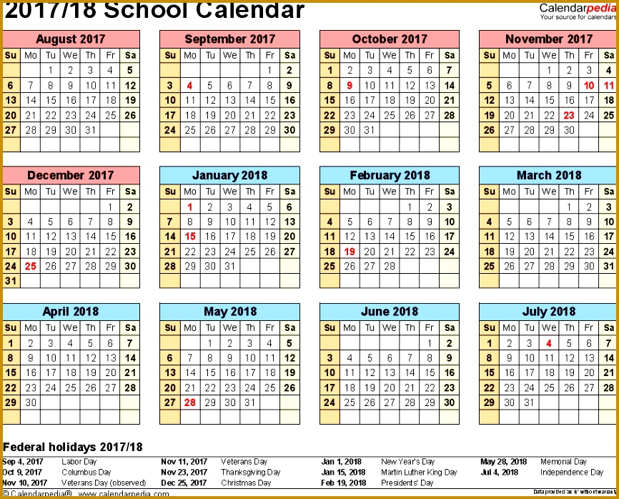 Template 4 School calendar 2017 18 for Excel landscape orientation year at 698866