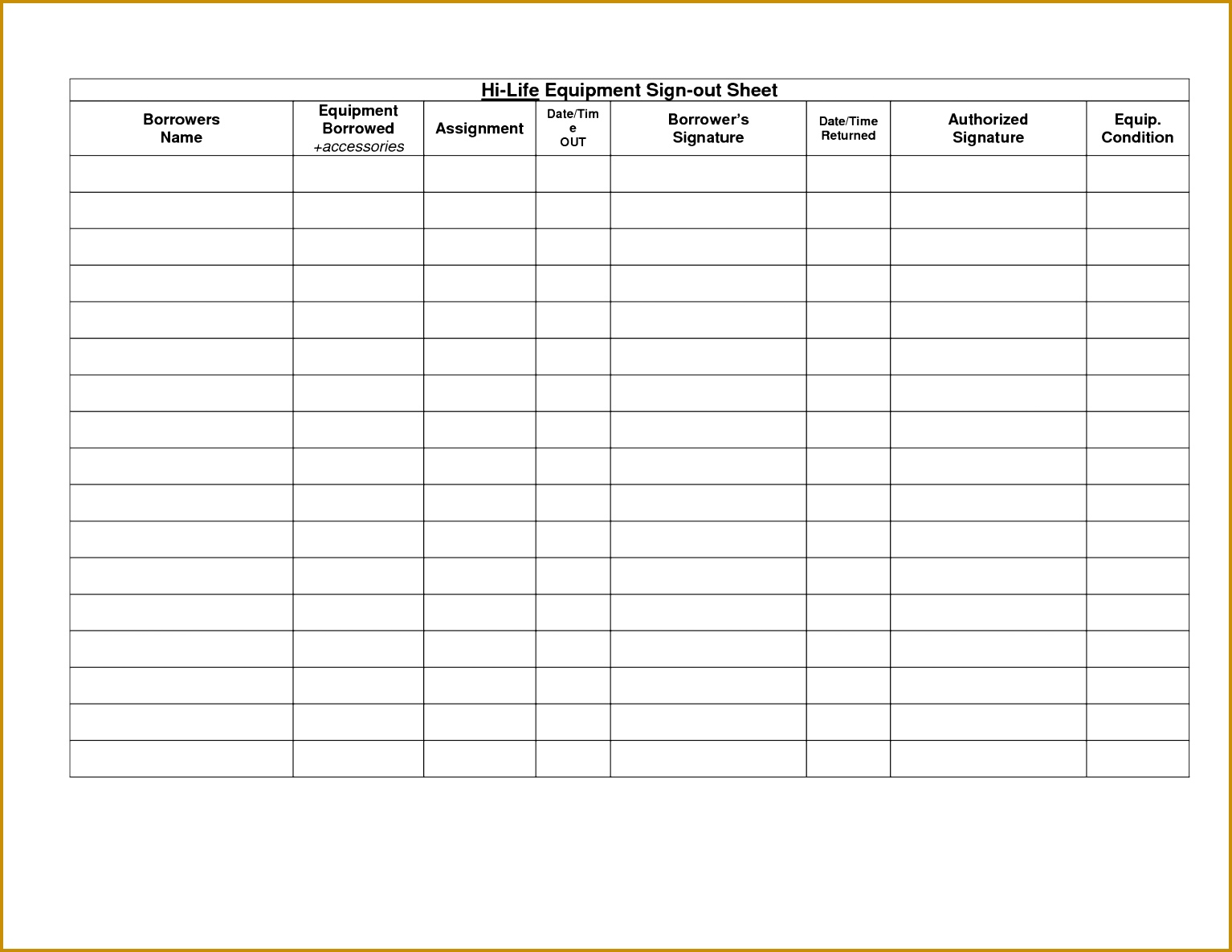 Sign In Out Sheet Template Stunning Sle Equipment Sign Out Sheet s Best Resume 15341185