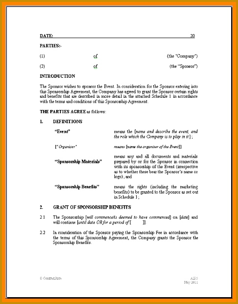 10 sponsorship agreement template 622487