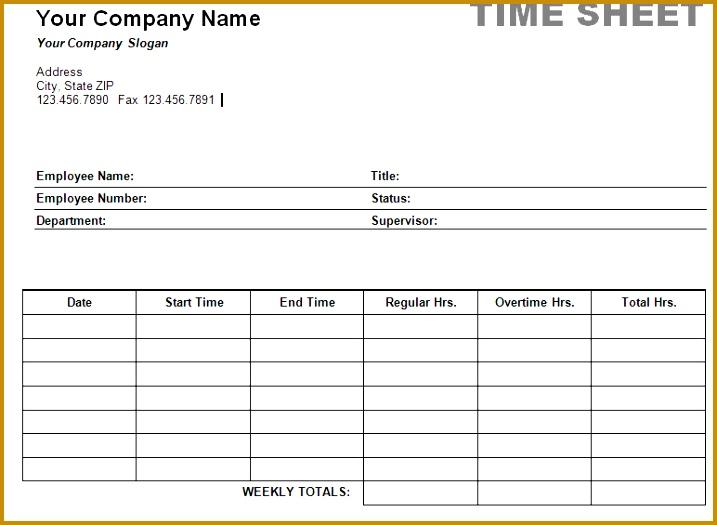 Free Printable Timesheet Templates 525717