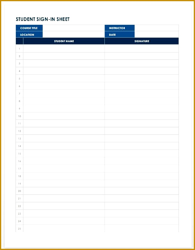Student Sign in Sheet Template Word 833651
