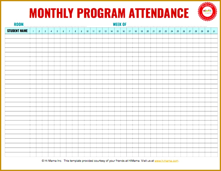 Daycare Sign In Sheet Template Monthly per classroom 569736