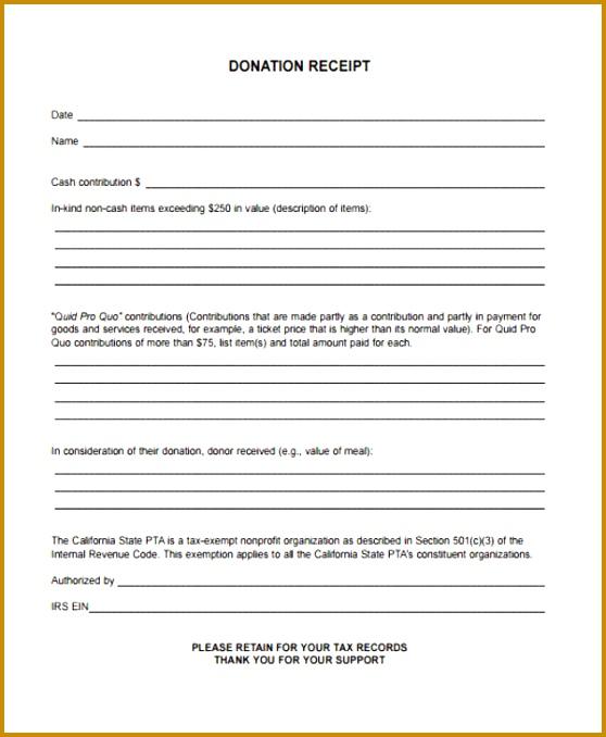 Printable Donation Receipt Form 678558