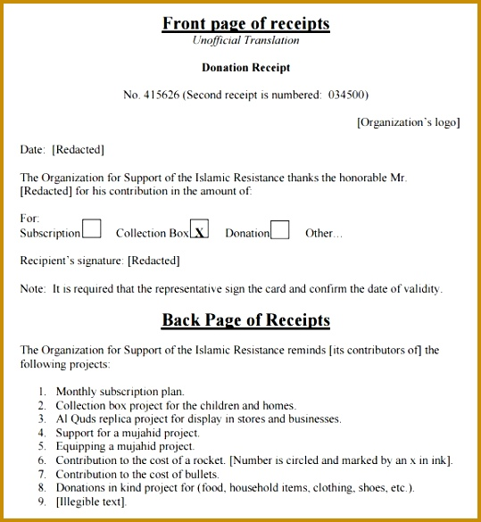 4 tax donation receipt templates excel xlts 585539