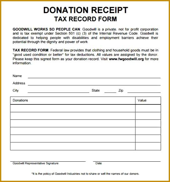 goodwill receipt for taxes Donation Receipt Tax Deduction Form 582544