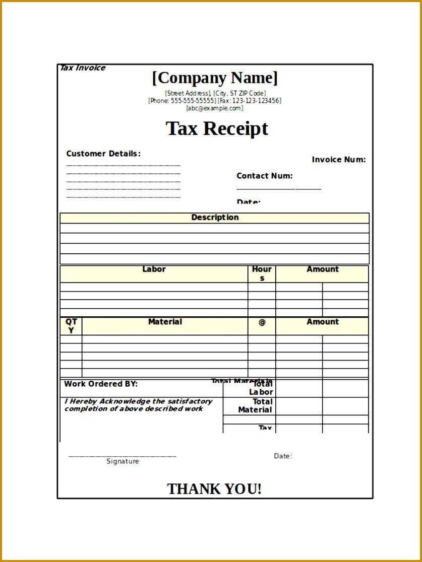 Tax Receipt Sample 1116837