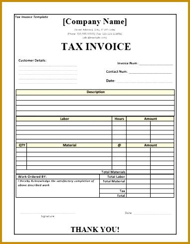Tax Invoice Template 490381