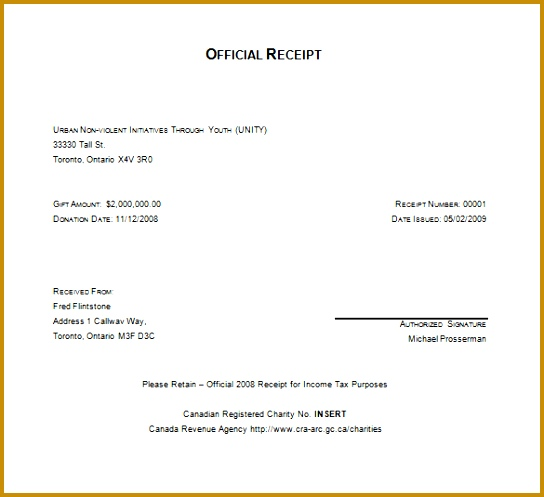 Charitable Tax Receipt Template Word Free Download 497544