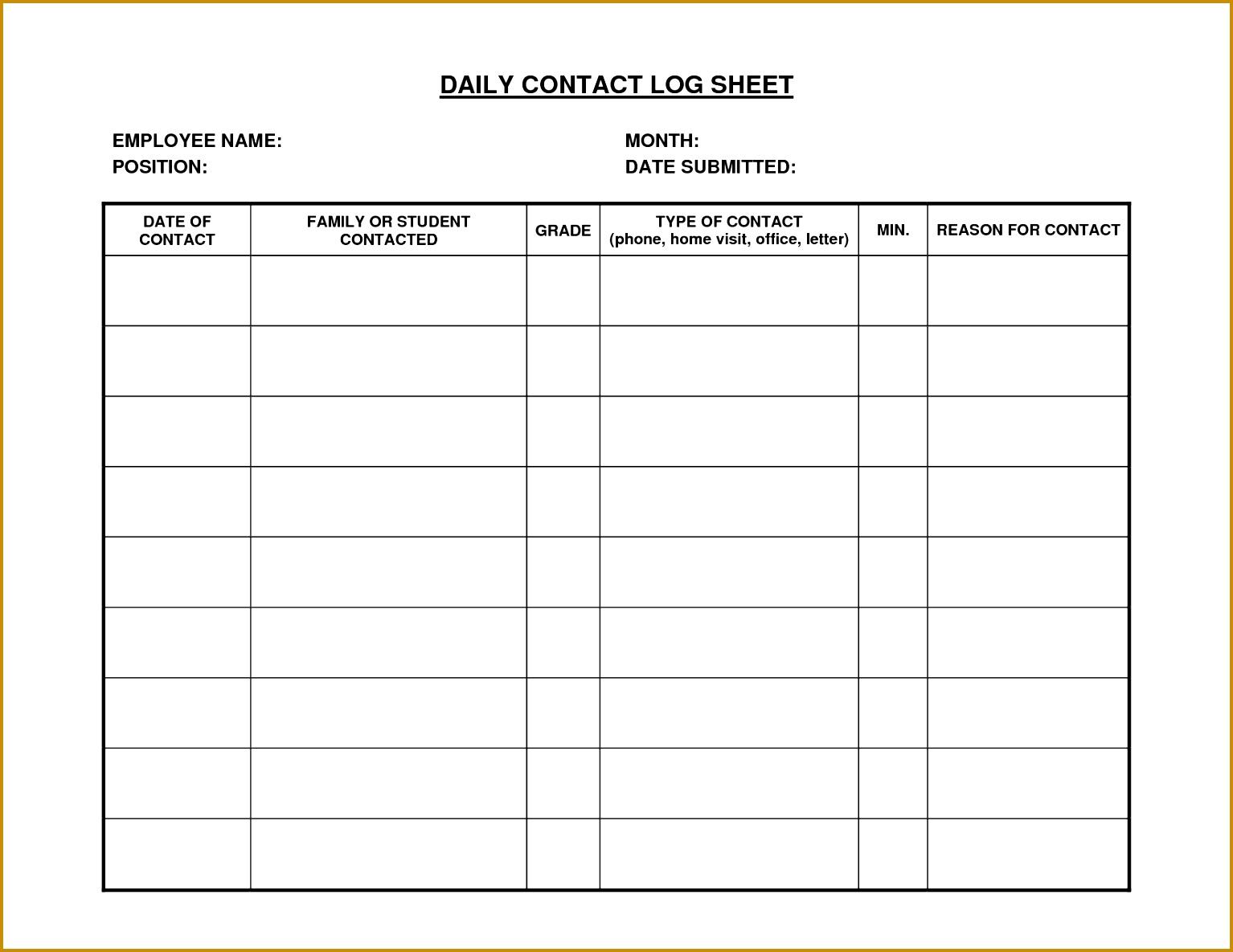 Daily Work Log Sheet Template 11851534