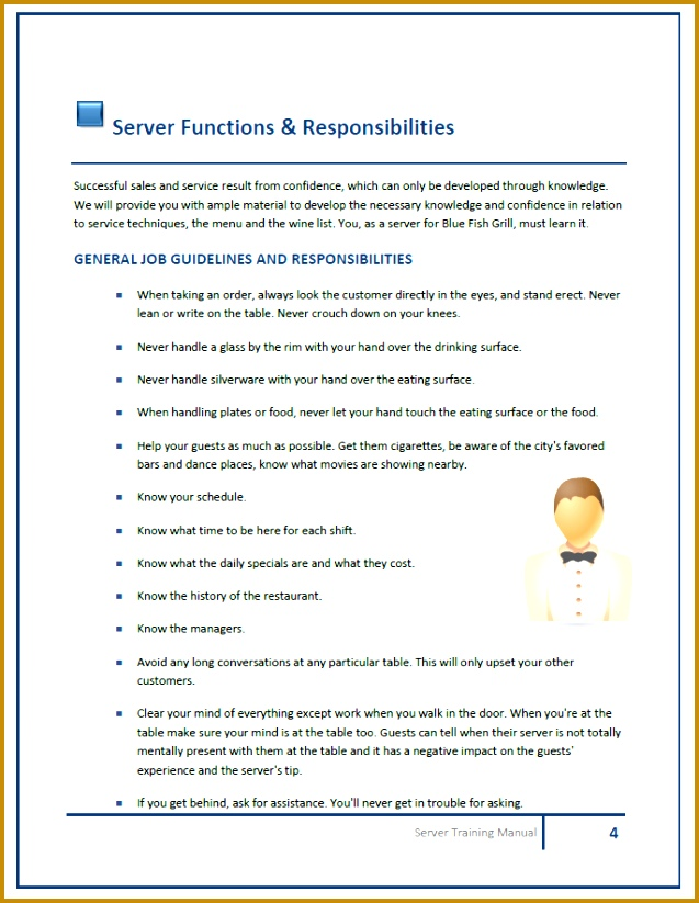 Funky Server Training Manual Template Photo - Resume Ideas ...