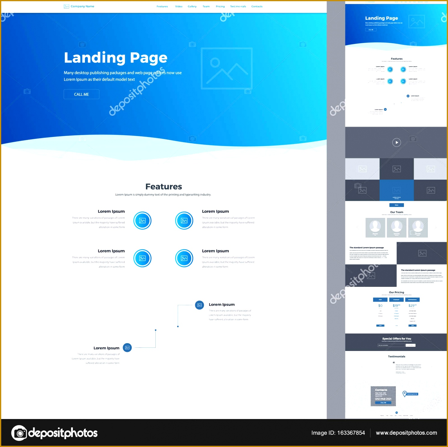 e page website design template for business Landing page wireframe Modern responsive design 14881485
