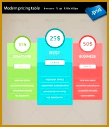 18 Colorful Pricing Table PSD Templates 255219