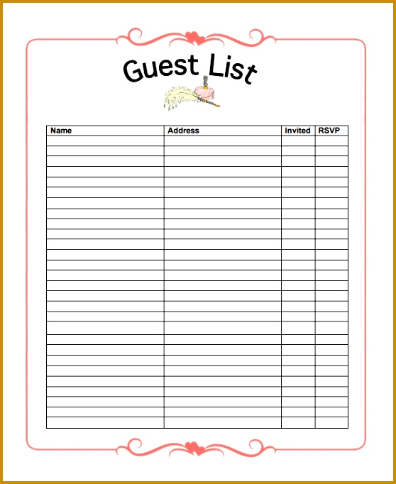 party guest list templates 682558