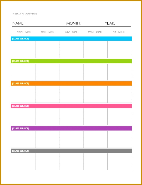 weekly class schedule template 09 628484