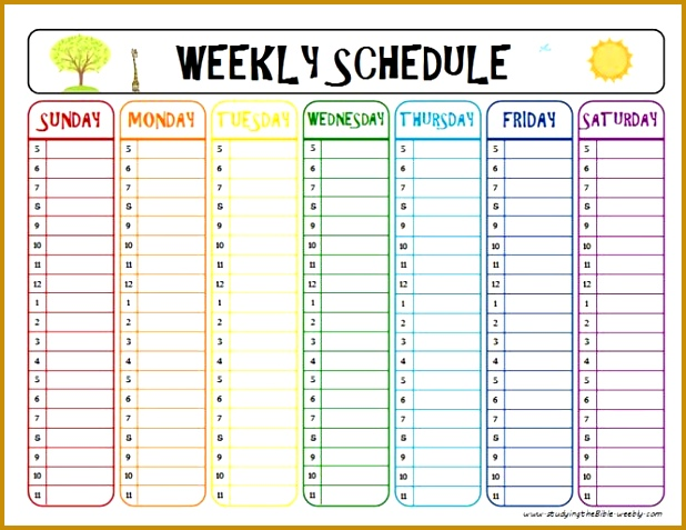 printable week schedule to help with homework and after school activities Kid learin Pinterest 477618