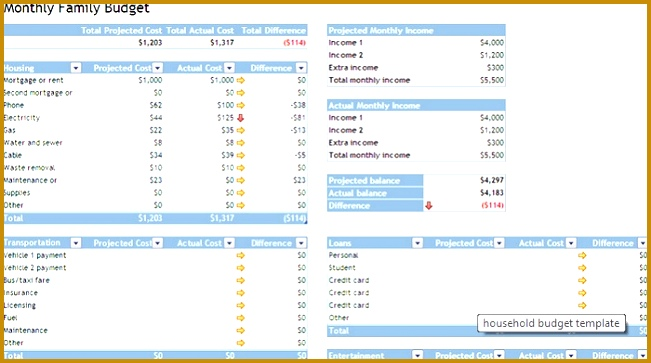 My Excel Templates Household Bud Household Bud 651363