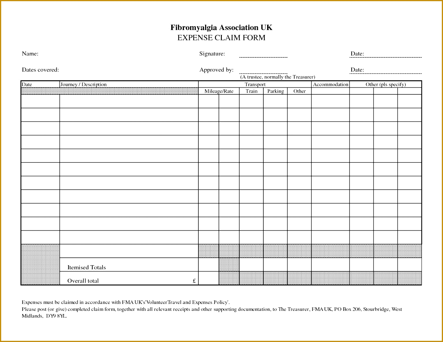expenses form template 11851534