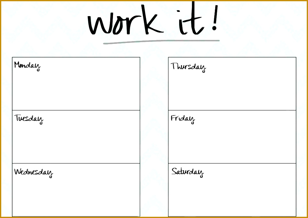 Blank Printable Workout Calendar Template 5 7161009