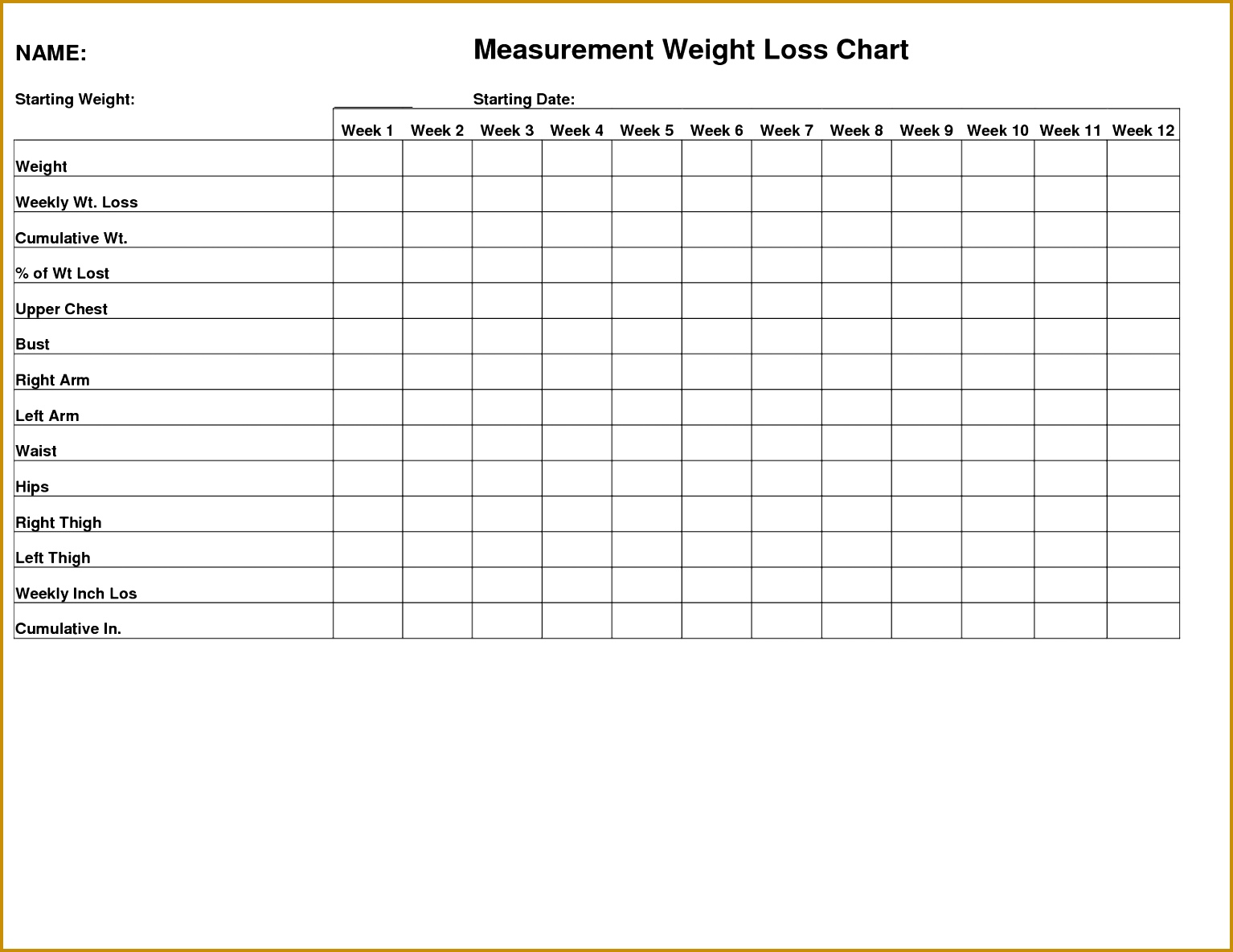 weight loss graph template