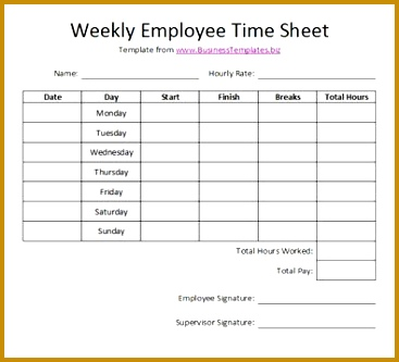 Free Printable Timesheet Templates 333367