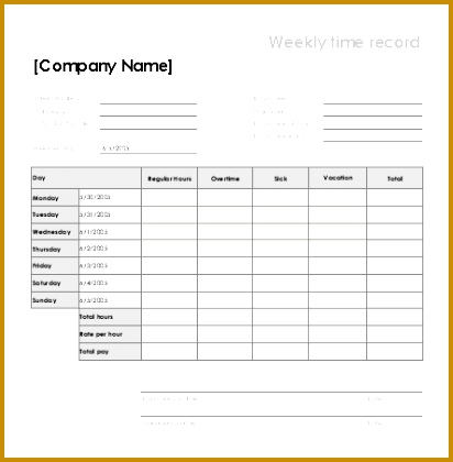 Weekly time sheet with sick leave and vacation 412420