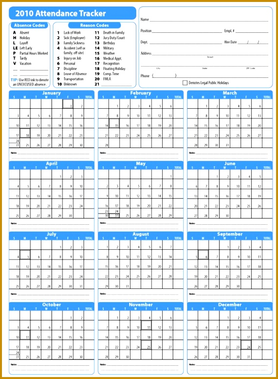 10 Workers Vacation Tracker Template