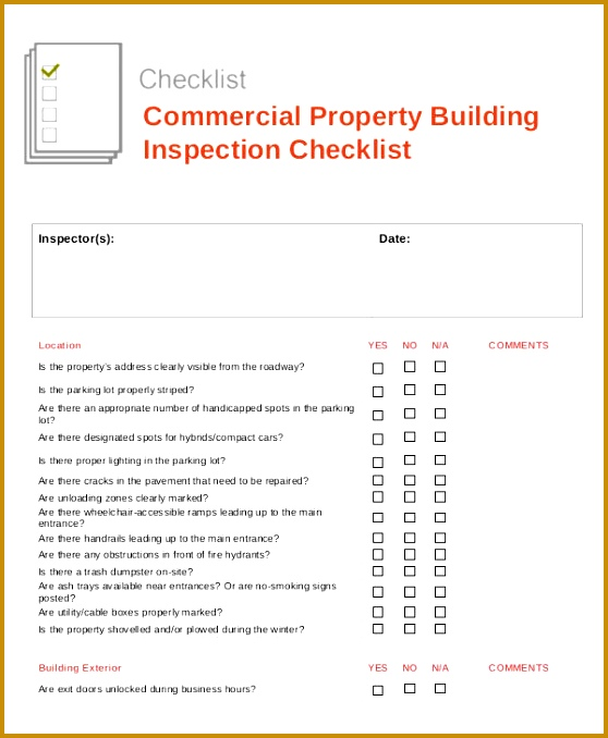 mercial property inspection report template 678558