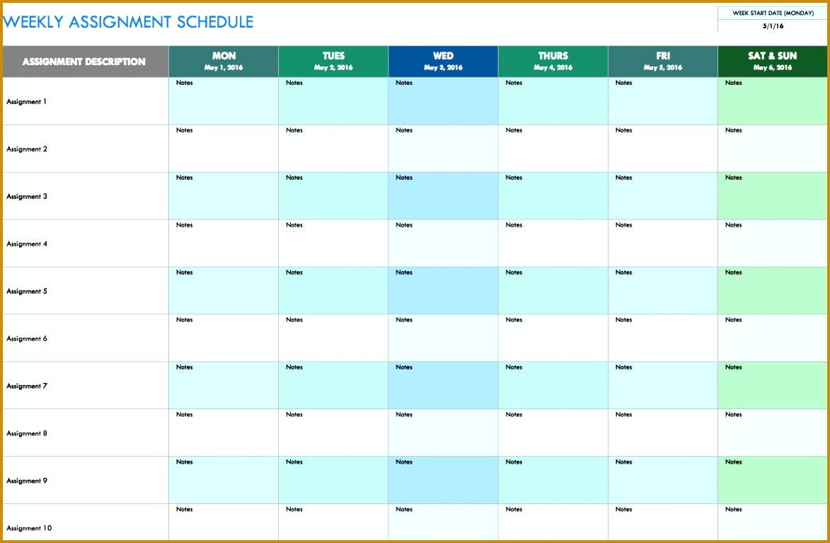 free weekly schedule templates excel 7671173