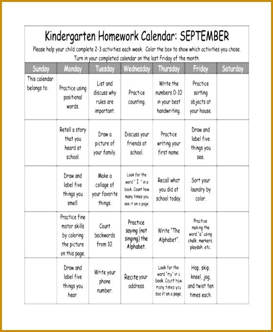 homework calendars 558678