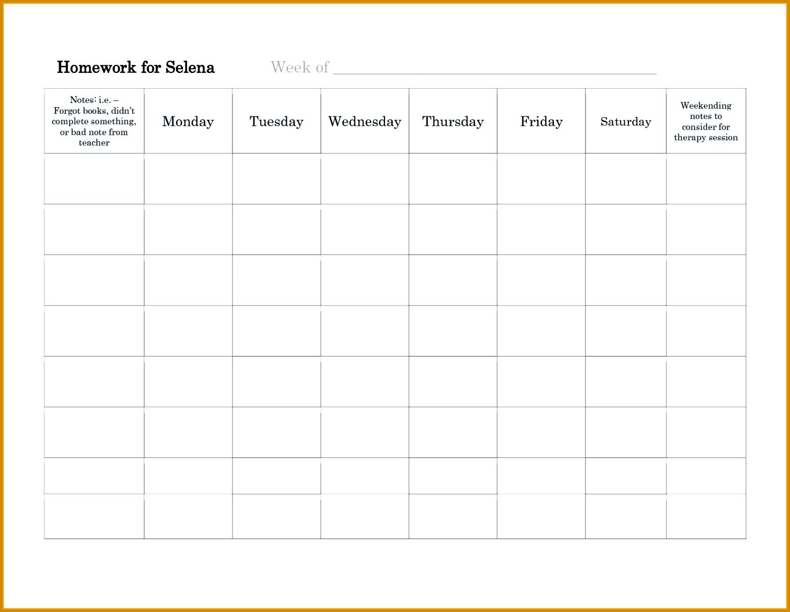 11 homework schedule template 12001549