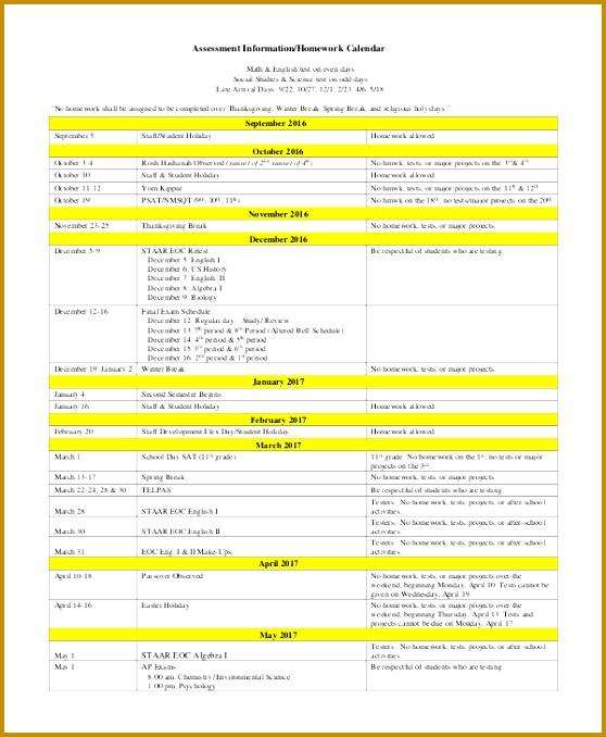 homework calendars 678558