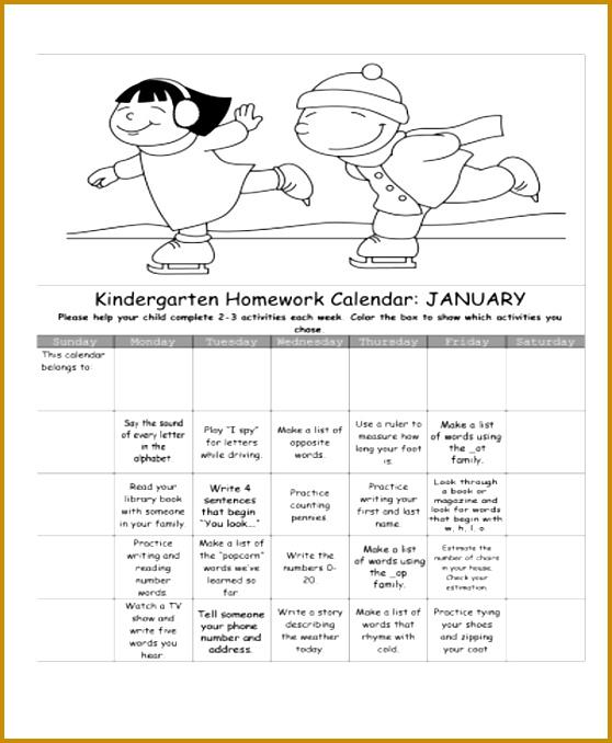 homework calendar templates 678558
