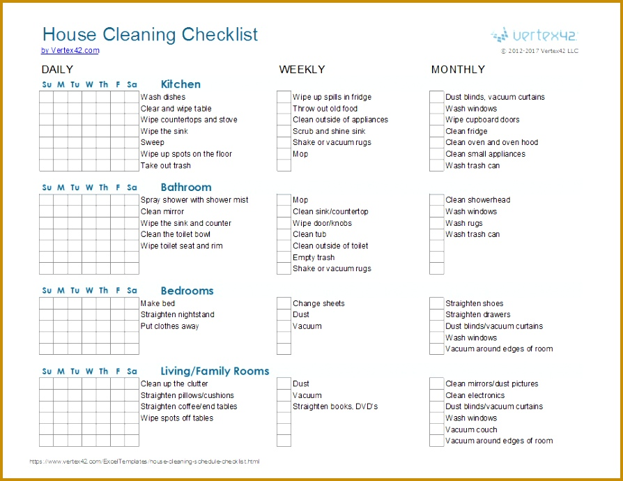 5 House Cleaning Checklist Excel