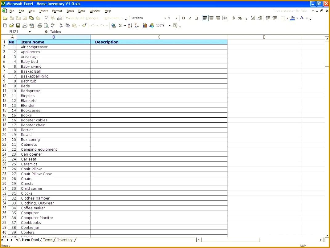 insurance inventory list template 1071803