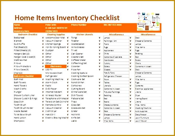 inventory checklist template 519669