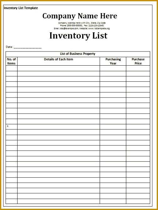 inventory checklist template 504669