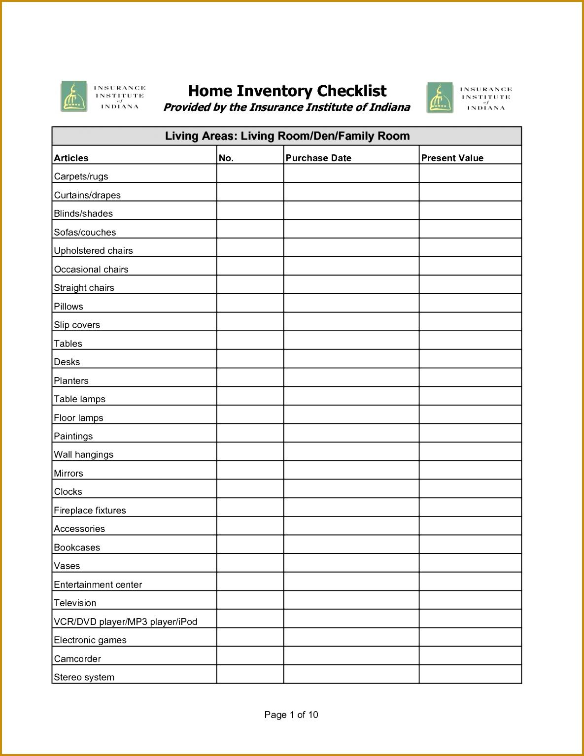 inventory checklist template 15341185
