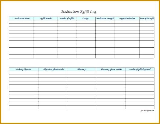 medication refill log prescription log 411530