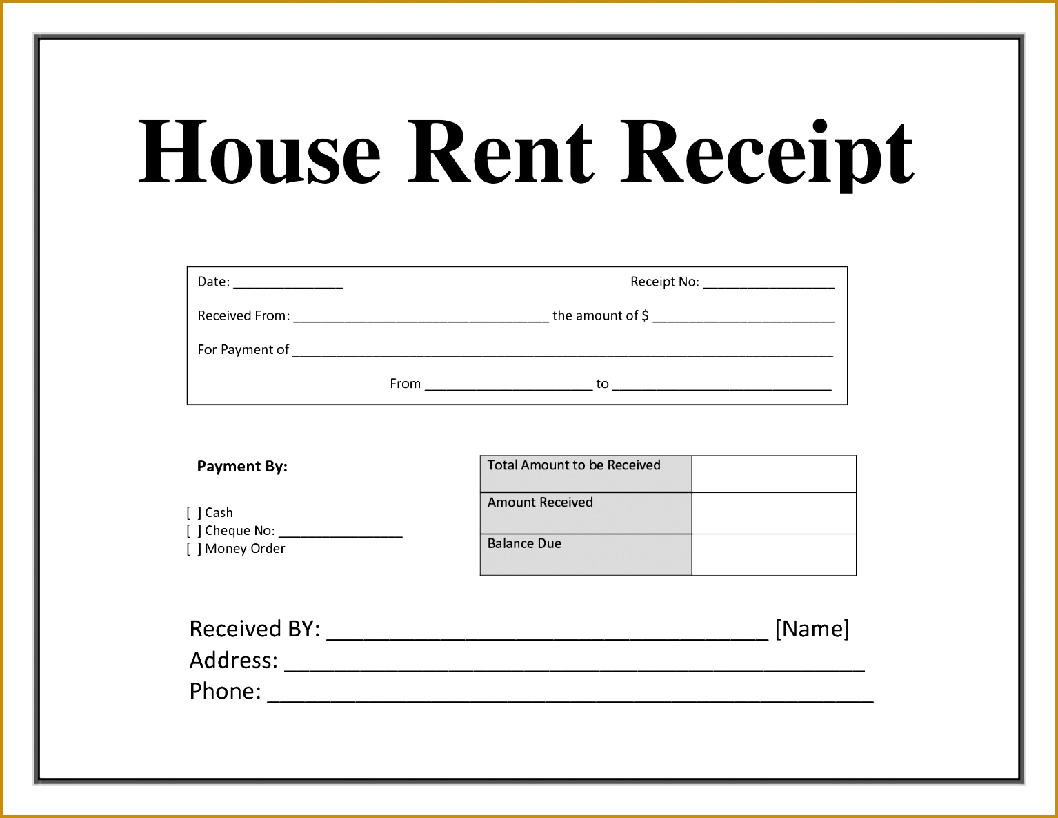 post room rent receipt template in india 11851534