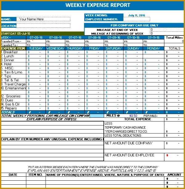 weekly expense report 613601