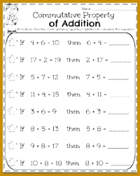 First Grade Math Worksheets for May mutative Property of Addition 200251