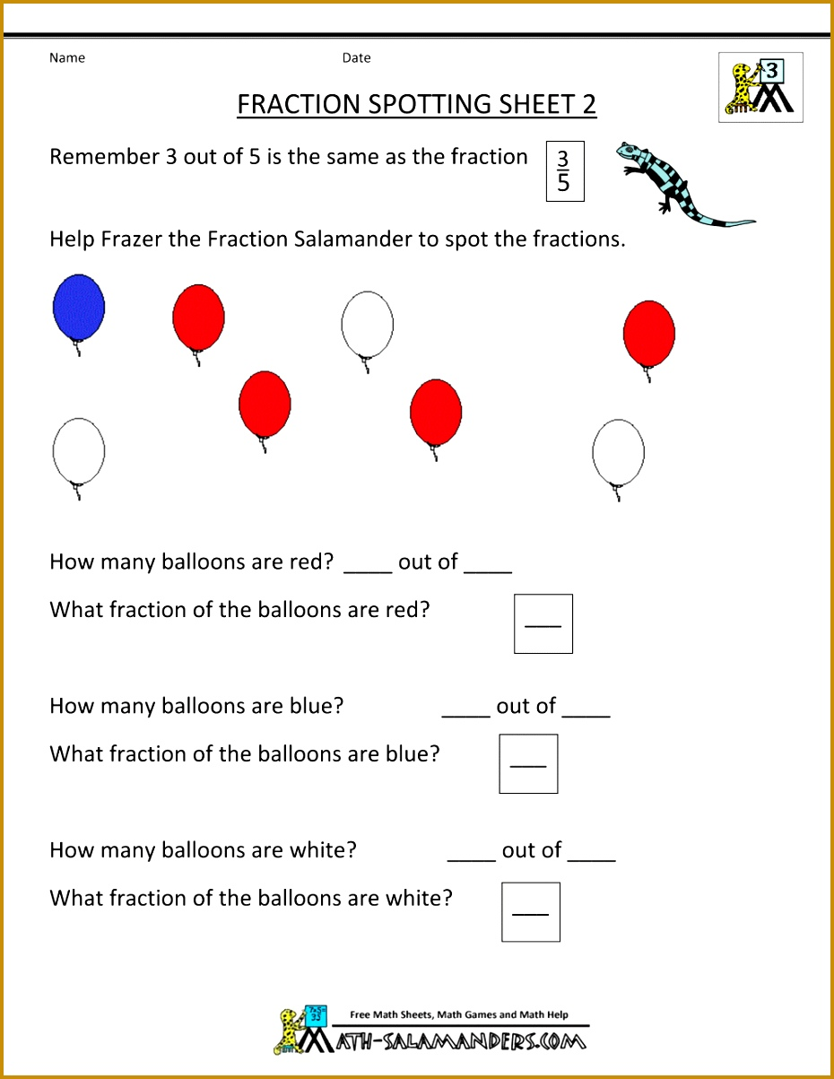 3rd grade math worksheet fraction spotting 2 1203930