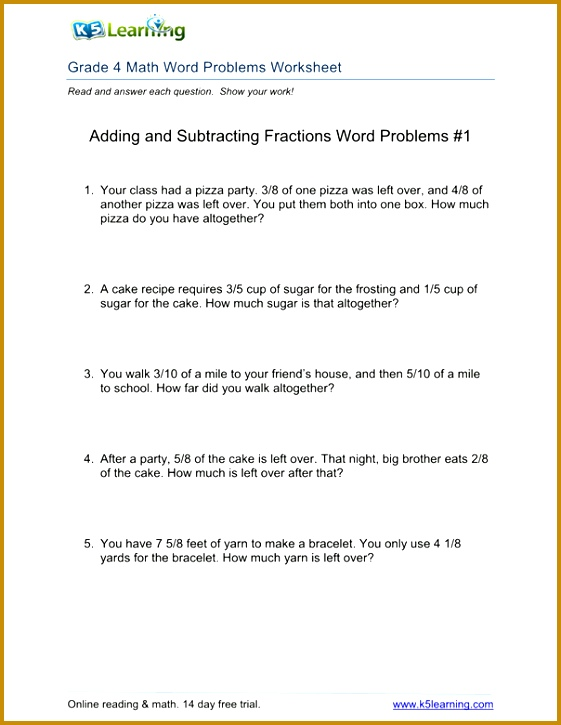 Fourth Grade Math Word Problems Worksheets Worksheets for all Download and Worksheets 725561