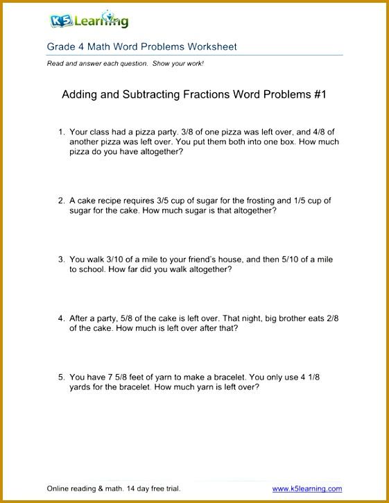 4th Grade Math Printable Worksheets 13265 Fourth Grade Math Word Problems Worksheets Worksheets for All