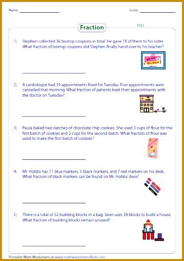 4th Grade Math Printable Worksheets 37877 Fraction Word Problems Worksheets